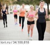 Beautiful girls during racewalking training. Стоковое фото, фотограф Яков Филимонов / Фотобанк Лори