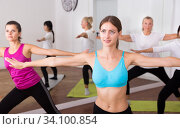 Flexible women practice yoga in a modern studio. Стоковое фото, фотограф Яков Филимонов / Фотобанк Лори