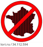 Купить «Illustration of France silhouette with the word virus in prohibitory sign», фото № 34112594, снято 12 июля 2020 г. (c) easy Fotostock / Фотобанк Лори
