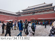 Купить «Wumen - Meridian Gate, southern and largest gate to Forbidden City palace complex in central Beijing, China.», фото № 34113802, снято 12 февраля 2019 г. (c) age Fotostock / Фотобанк Лори