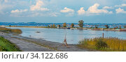 Blick von der Fußacher Bucht in Österreich nach Lindau auf deutscher Seite. Стоковое фото, фотограф Zoonar.com/Falke / easy Fotostock / Фотобанк Лори