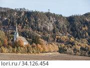 Купить «Traditional Norwegian Lutheran Church exterior», фото № 34126454, снято 16 октября 2016 г. (c) EugeneSergeev / Фотобанк Лори