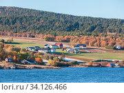 Coastal Norwegian landscape. Lensvik (2016 год). Стоковое фото, фотограф EugeneSergeev / Фотобанк Лори