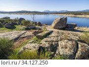 Купить «Drought, calm and rocks at Torcon reservoir and Toledo's Hills on the background. Toledo. Spain. Europe.», фото № 34127250, снято 26 февраля 2020 г. (c) age Fotostock / Фотобанк Лори