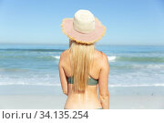 Купить «Rear view of woman with hat standing on the beach», фото № 34135254, снято 25 февраля 2020 г. (c) Wavebreak Media / Фотобанк Лори