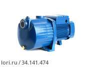 Centrifugal water pump with electric motor. Isolated on a white. Стоковое фото, фотограф Бражников Андрей / Фотобанк Лори