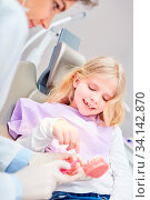 Zahnärztin oder Arzthelferin zeigt Kind ein Modell von Gebiss bei einer Vorsorge Untersuchung. Стоковое фото, фотограф Zoonar.com/Robert Kneschke / age Fotostock / Фотобанк Лори