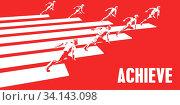 Купить «Achieve with Business People Running in a Path», фото № 34143098, снято 14 июля 2020 г. (c) easy Fotostock / Фотобанк Лори