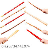 Collection of various wood sticks as a weapons isolated on white background. Стоковое фото, фотограф Zoonar.com/Valery Voennyy / easy Fotostock / Фотобанк Лори