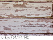 Купить «Close up background texture of old vintage weathered white painted grunge wooden planks with brown wood grain», фото № 34144142, снято 10 июля 2020 г. (c) easy Fotostock / Фотобанк Лори
