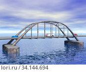 Stählerne Bogenbrücke über Wasser. Стоковое фото, фотограф Zoonar.com/Dr. Norbert Lange / easy Fotostock / Фотобанк Лори