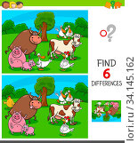 Cartoon Illustration of Finding Six Differences Between Pictures Educational Game for Children with Farm Animal Characters. Стоковое фото, фотограф Zoonar.com/Igor Zakowski / easy Fotostock / Фотобанк Лори