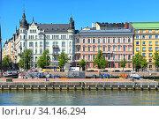 Pohjoisranta embankment with old harbor. Helsinki, Finland (2019 год). Редакционное фото, фотограф Валерия Попова / Фотобанк Лори