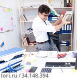 Купить «Busy frustrated businessman angry in the office», фото № 34148394, снято 3 августа 2017 г. (c) Elnur / Фотобанк Лори