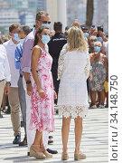 King Felipe VI of Spain, Queen Letizia of Spain visit Levante Beach on July 3, 2020 in Benidorm, Spain. Редакционное фото, фотограф Manuel Cedron / age Fotostock / Фотобанк Лори
