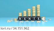 Купить «German text Rente, translate pension. 3d illustration.», фото № 34151962, снято 5 августа 2020 г. (c) easy Fotostock / Фотобанк Лори