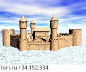 Antike Burg mit Türmen und Zinnen. Стоковое фото, фотограф Zoonar.com/Dr. Norbert Lange / easy Fotostock / Фотобанк Лори