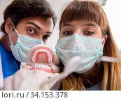 Concept of treating teeth at dentists. Стоковое фото, фотограф Elnur / Фотобанк Лори