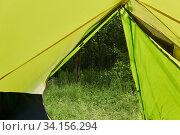 Купить «View from the hiking dome tent to the summer forest», фото № 34156294, снято 25 июня 2020 г. (c) Евгений Харитонов / Фотобанк Лори
