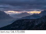 Mountains at sunrise, looking toward Cortina valley, from Passo Giau. Dolomites, Italy. October 2019. Стоковое фото, фотограф John Shaw / Nature Picture Library / Фотобанк Лори