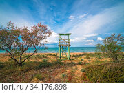 Wide angle view of the wooden Lifeguard lookout on the Tsilivi Beach in summer, Zante Island, Greece. Стоковое фото, фотограф Zoonar.com/Pawel Opaska / easy Fotostock / Фотобанк Лори