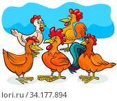 Cartoon Illustration of Hens and Roosters Birds Farm Animal Characters Group. Стоковое фото, фотограф Zoonar.com/Igor Zakowski / easy Fotostock / Фотобанк Лори
