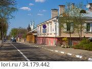 На старых улочках Полоцка солнечным апрельским днем. Белоруссия (2019 год). Стоковое фото, фотограф Виктор Карасев / Фотобанк Лори