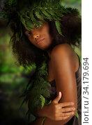 Sensual portrait of a pretty young black woman. Стоковое фото, фотограф Алексей Кузнецов / Фотобанк Лори