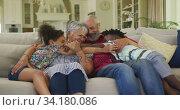 Grandparents embracing their grandchildren at home. Стоковое видео, агентство Wavebreak Media / Фотобанк Лори