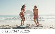 Купить «Friends training surf styling on the sand », видеоролик № 34180226, снято 25 февраля 2020 г. (c) Wavebreak Media / Фотобанк Лори
