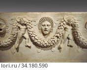 Close up picture of Roman relief sculpted Sarcophagus of Garlands, 2nd century AD, Perge. This type of sarcophagus is described as a â. œPamphylia Type... Стоковое фото, фотограф Funkystock / age Fotostock / Фотобанк Лори