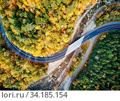 Купить «Scenic Mohawk Trail winding highway at autumn, Massachusetts, USA. Fall in New England. Aerial drone shot.», фото № 34185154, снято 10 июля 2020 г. (c) easy Fotostock / Фотобанк Лори