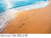 Купить «Footprints on tropical beach and beautiful wave», фото № 34185218, снято 10 июля 2020 г. (c) easy Fotostock / Фотобанк Лори