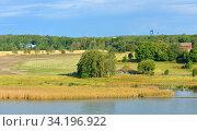 Summer landscape. Picturesque fields and pastures on shores of Baltic Sea. Turku Archipelago, Finland (2014 год). Стоковое фото, фотограф Валерия Попова / Фотобанк Лори