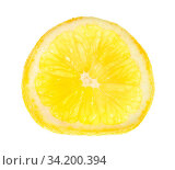 Thin slice of fresh lemon lit from behind isolated on white background. Стоковое фото, фотограф Zoonar.com/Valery Voennyy / easy Fotostock / Фотобанк Лори