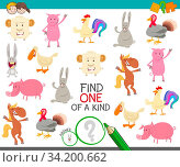 Cartoon Illustration of Find One of a Kind Picture Educational Activity Game with Cute Farm Animal Characters. Стоковое фото, фотограф Zoonar.com/Igor Zakowski / easy Fotostock / Фотобанк Лори