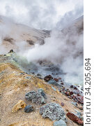 Купить «Mountain landscape, crater of active volcano: fumarole, hot spring, lava field, gas-steam activity. Dramatic volcanic landscape, travel destinations», фото № 34205694, снято 9 сентября 2015 г. (c) А. А. Пирагис / Фотобанк Лори