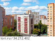 Residential district with high-rise houses in Moscow city in sunny summer day. Стоковое фото, фотограф Zoonar.com/Valery Voennyy / easy Fotostock / Фотобанк Лори