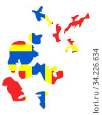 Fahne in Landkarte der Orkney Inseln - Flag in map of Orkney. Стоковое фото, фотограф Zoonar.com/lantapix / easy Fotostock / Фотобанк Лори