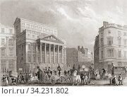 Mansion House, London, England, 19th century. From The History of London: Illustrated by Views in London and Westminster, published c. 1838. Стоковое фото, фотограф Classic Vision / age Fotostock / Фотобанк Лори