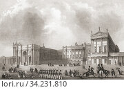 Buckingham Palace, City of Westminster, London, England, 19th century. From The History of London: Illustrated by Views in London and Westminster, published c. 1838. Стоковое фото, фотограф Classic Vision / age Fotostock / Фотобанк Лори