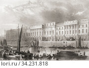 The Custom House, London, England, 19th century. From The History of London: Illustrated by Views in London and Westminster, published c. 1838. Стоковое фото, фотограф Classic Vision / age Fotostock / Фотобанк Лори