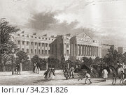 Cumberland Terrace, Regent's Park, London, England, 19th century. From The History of London: Illustrated by Views in London and Westminster, published c. 1838. Стоковое фото, фотограф Classic Vision / age Fotostock / Фотобанк Лори