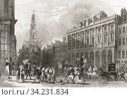 Somerset House, The Strand, London, England, 19th century. From The History of London: Illustrated by Views in London and Westminster, published c. 1838. Стоковое фото, фотограф Classic Vision / age Fotostock / Фотобанк Лори