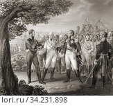 Meeting in Prague on August 18, 1813, between European monarchs who were part of the Sixth Coalition against Napoleon: Francis I, Emperor of Austria, Alexander... Стоковое фото, фотограф Classic Vision / age Fotostock / Фотобанк Лори