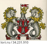 Coat of arms, Newcastle-on-Tyne, England. From The Business Encyclopaedia and Legal Adviser, published 1907. Стоковое фото, фотограф Classic Vision / age Fotostock / Фотобанк Лори