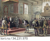 Representatives of the lesser nobility in the Habsburg Netherlands submit a petition to the Regent, Margaret of Parma. Known as the Compromise or Covenant... Стоковое фото, фотограф Classic Vision / age Fotostock / Фотобанк Лори