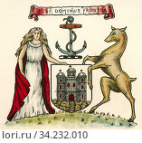 Coat of arms of Edinburgh, Scotland. From The Business Encyclopaedia and Legal Adviser, published 1907. Стоковое фото, фотограф Classic Vision / age Fotostock / Фотобанк Лори