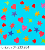 Collage of multicolored stars and hearts cut from papers on blue turquoise pastel paper. Стоковое фото, фотограф Zoonar.com/Valery Voennyy / easy Fotostock / Фотобанк Лори