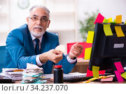 Old employee working in the office in conflicting priorities. Стоковое фото, фотограф Elnur / Фотобанк Лори